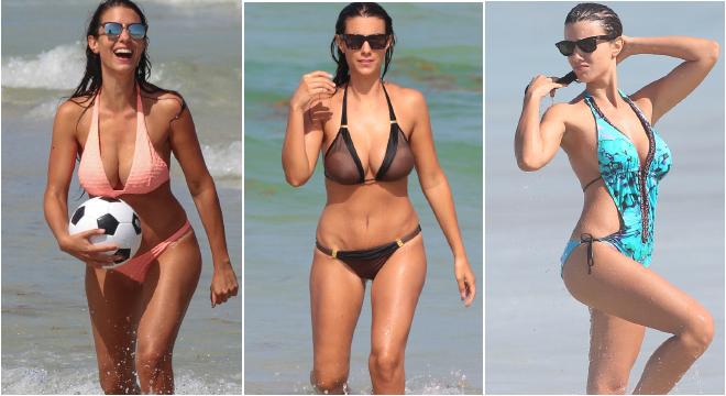 曼城悍兽性感娇妻 沙滩比基尼带球突破