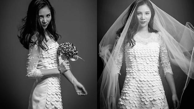 何姿微博秀黑白婚纱写真
