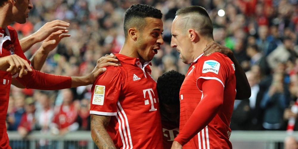 德甲-拜仁慕尼黑3-0柏林赫塔 里贝里庆祝进球