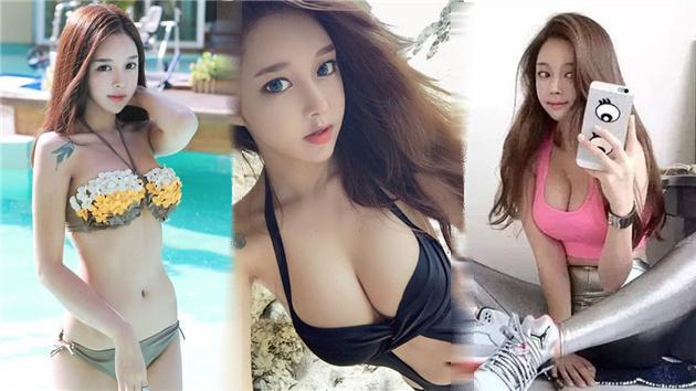 韩模特爱篮球爱球鞋 完美胸型让她成网红