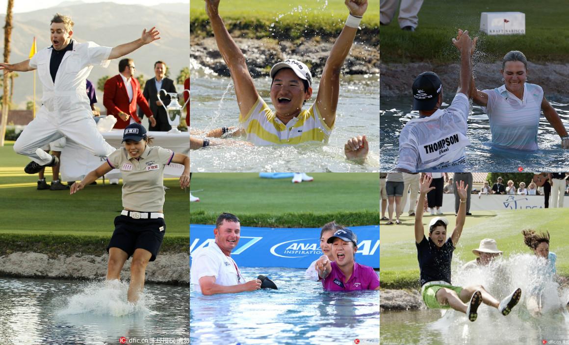 赢大满贯跳进冠军池塘 回顾全日空精英赛湿身秀