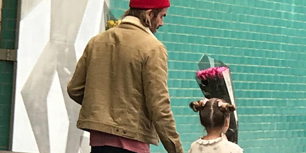 贝克汉姆带爱女买花送老婆
