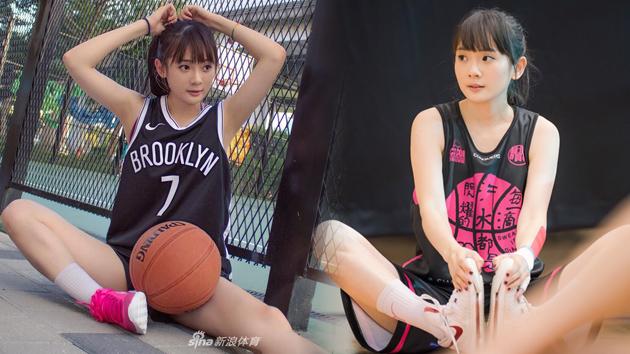 清纯台妹为NBA开赛兴奋拍写真