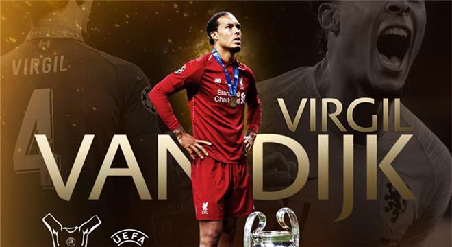 范戴克压梅罗荣膺欧洲最佳球员 成首位当选后卫
