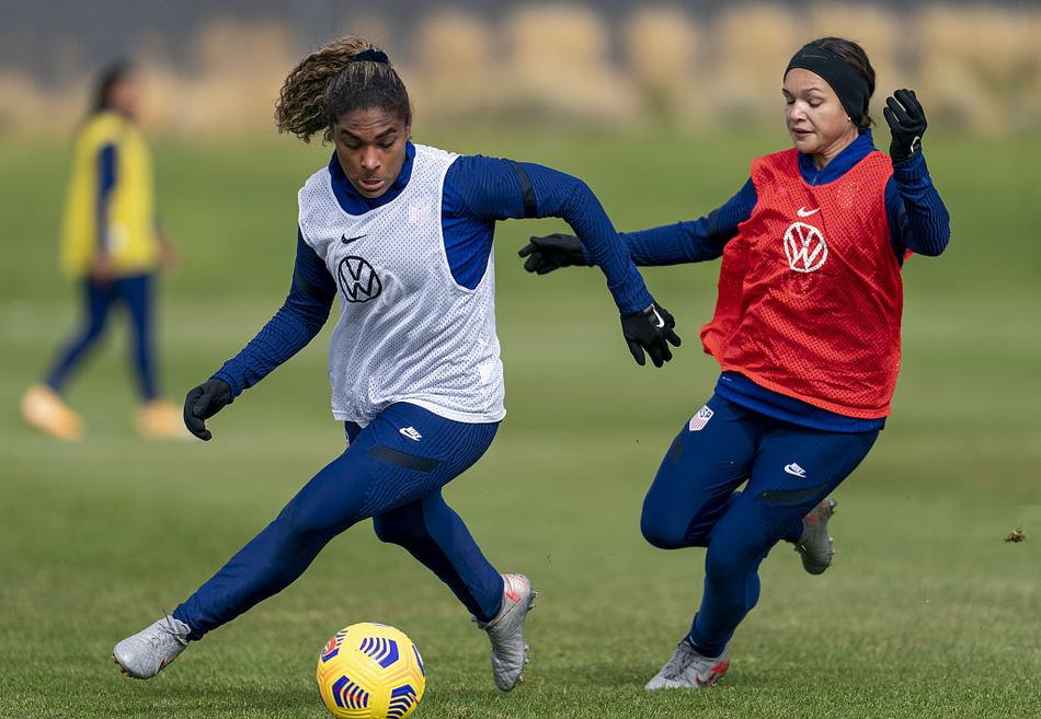 美国女足训练备战