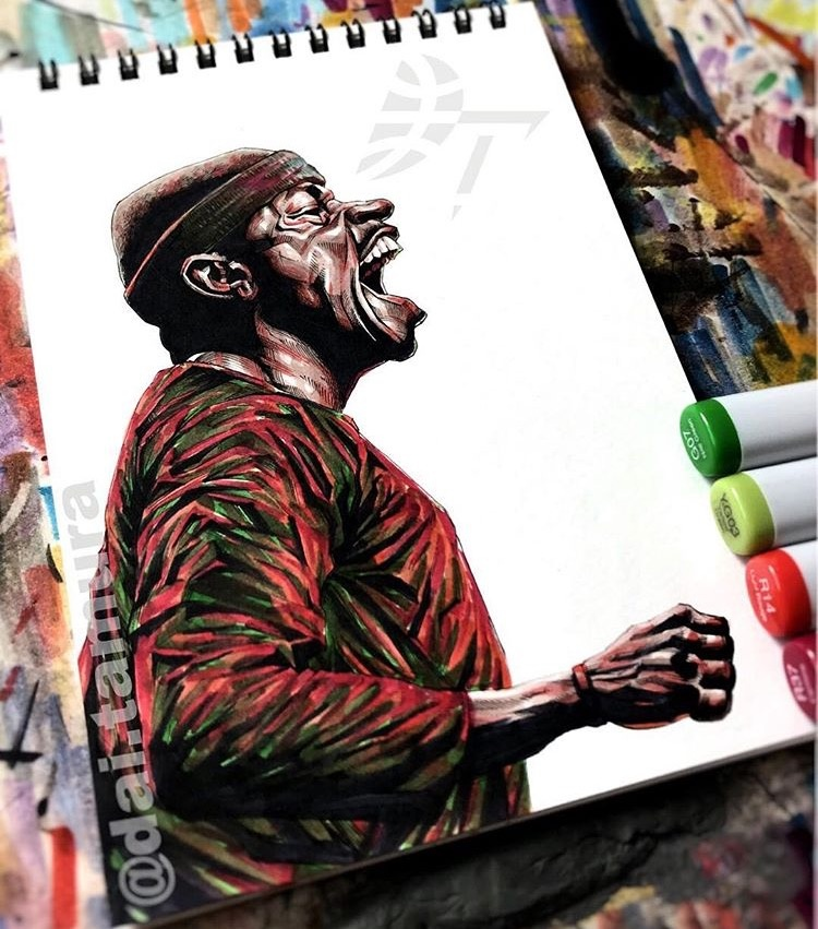 NBA球星手绘水彩画 保罗点燃哈登