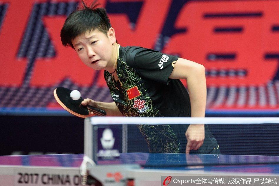 2017年6月22日,2017年中国乒乓球公开赛女单首轮,孙颖莎4:0胜杜