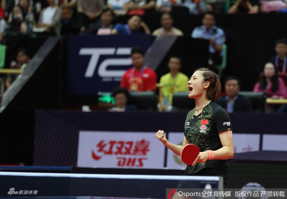 2017年6月25日,2017年中国乒乓球公开赛女单决赛,丁宁4-1孙颖莎