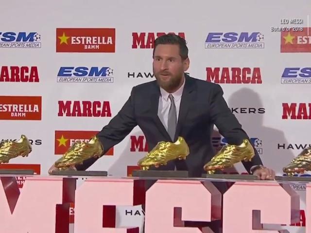 梅西领取第5座欧洲金靴奖