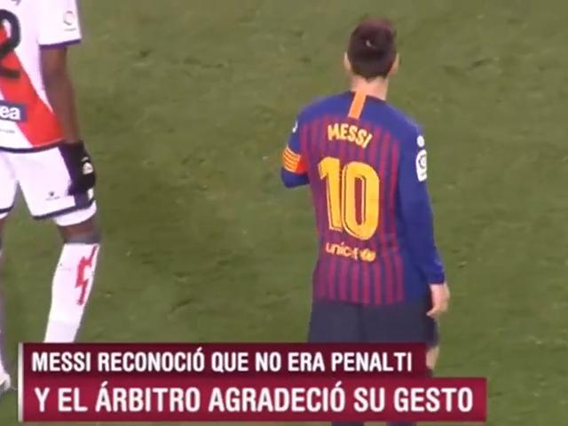 视频-点赞!梅西禁区倒地 主动向裁判示意非点球