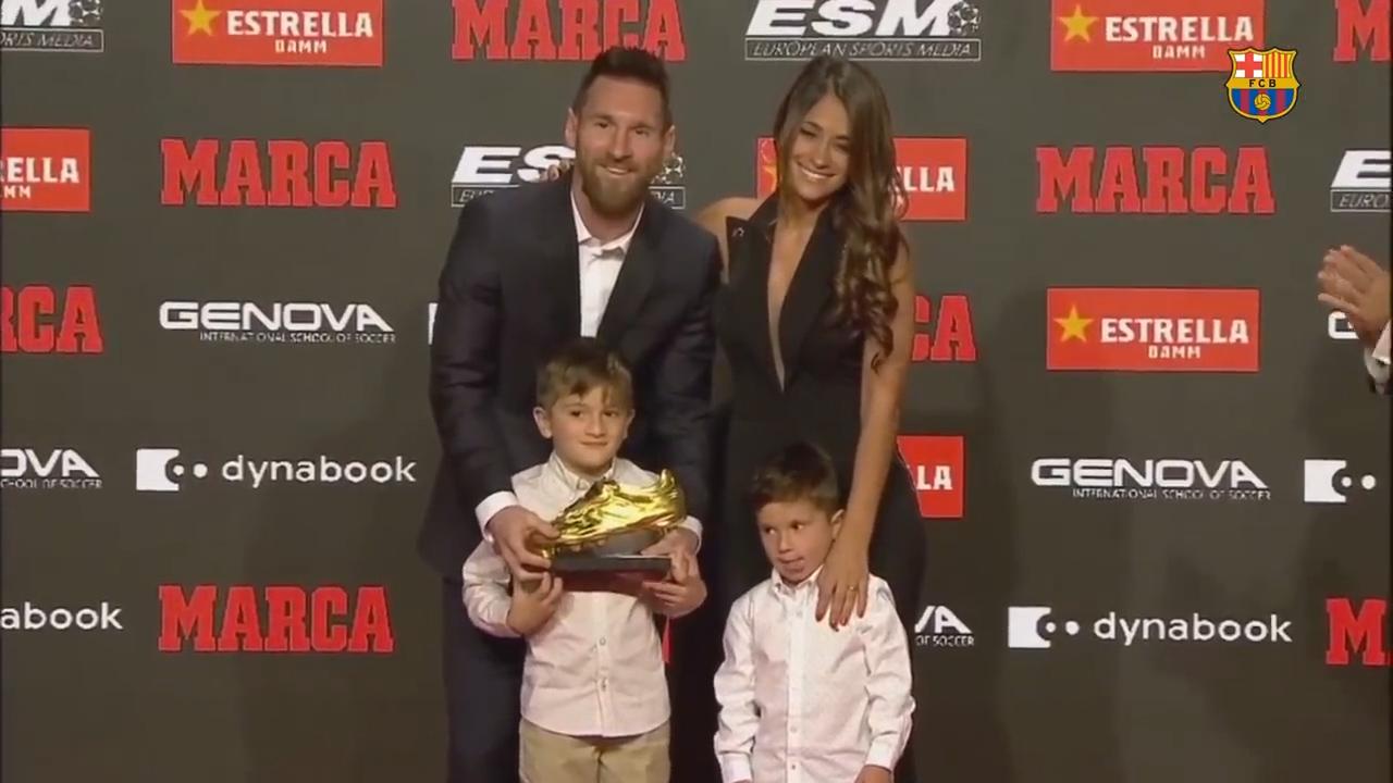 视频-梅西领取第6座欧洲金靴奖 历史第一再刷纪录