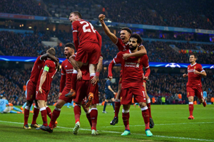 萨拉赫菲尔米诺破门 利物浦2-1双杀曼城