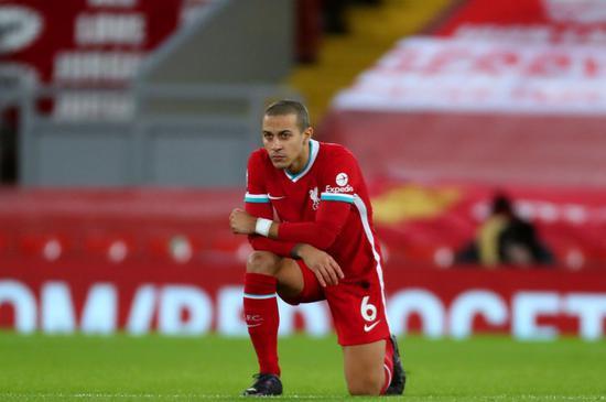 蒂亚戈至今5次代表利物浦首发 球队2平3负