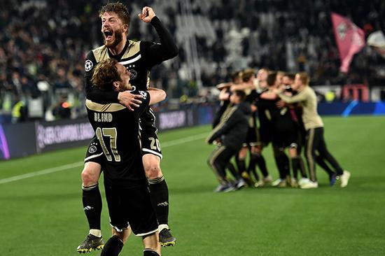 2018/2019欧冠1/4决赛次回合,阿贾克斯战胜尤文图斯。