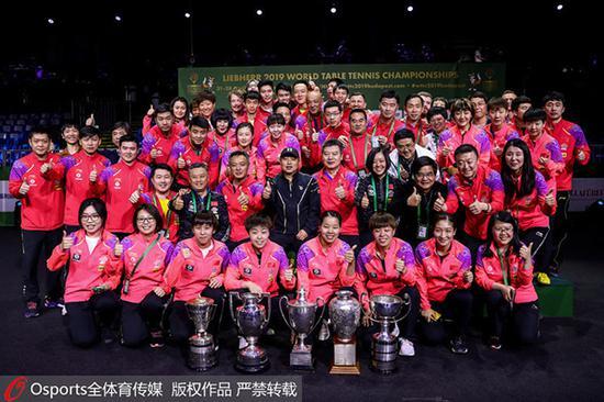 中国乒乓球队在2019年布达佩斯世锦赛包揽五项冠军
