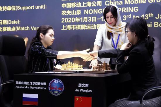 棋后挑战赛第三盘居文君涉险弈和 双方齐头并进