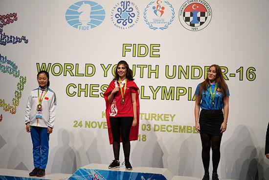 宋宇新获最佳女棋手铜牌。
