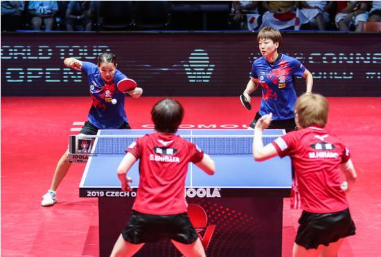 8月24日,中国组相符顾玉婷(上左)/木子(上右)在比赛中。
