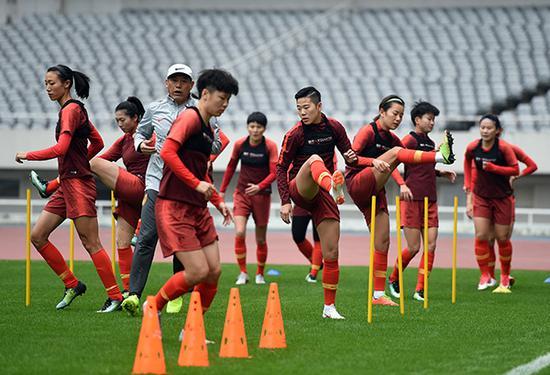 女足队员此前在集训中。视觉中国 资料