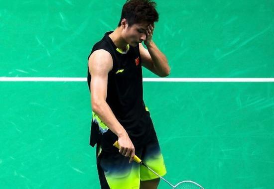 石宇奇在2018世界羽毛球锦标赛男子单打决赛中。新华社记者李响摄