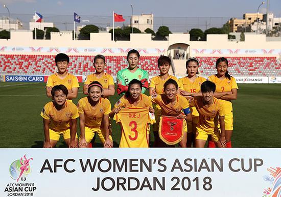 中国女足3-0战胜菲律宾,彭诗梦首发。