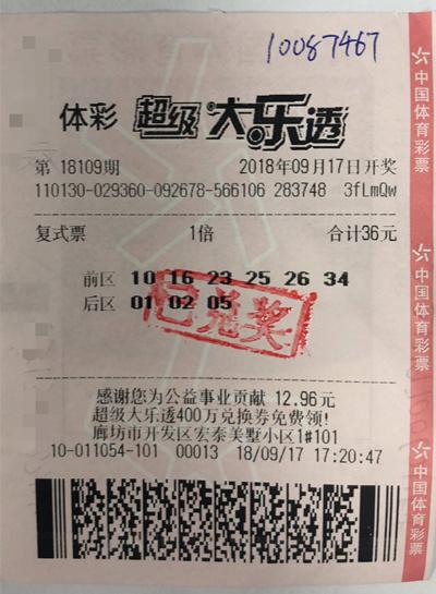 男子36元机选中大乐透1008万:上午刚中几千元