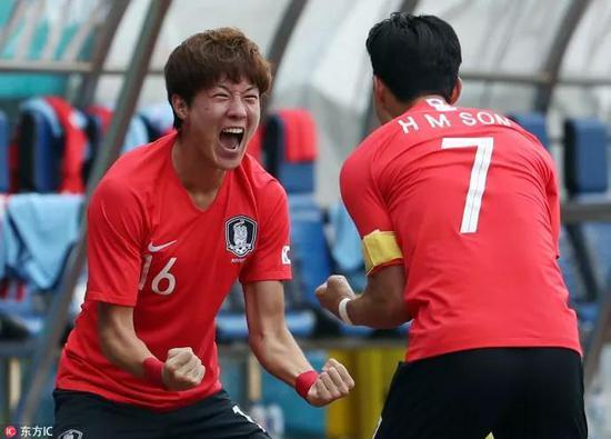 对阵乌兹别克斯坦的1/4决赛,孙兴慜与戴帽的黄义助庆祝