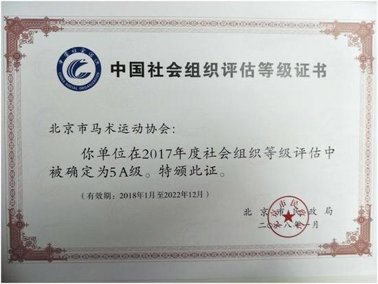 重大喜讯!北京马术协会被评为5A级社会组织