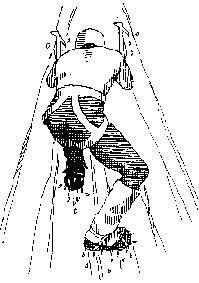 双脚呈三点钟方位,程序(脚掌着地)和德式(前齿攀爬)技能的联合。图像来历:rockice.info