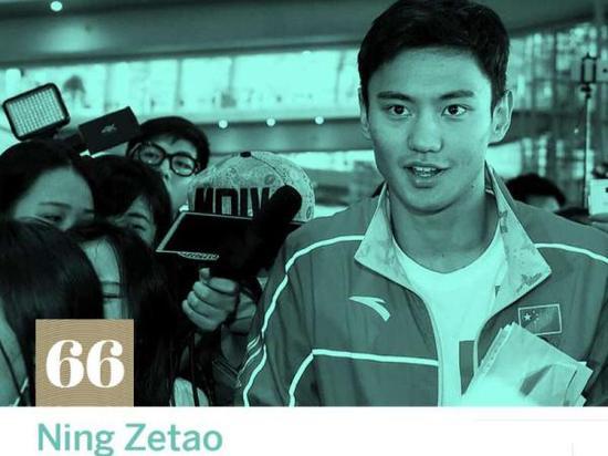 宁泽涛排名第66位。