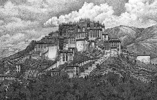 刘云山的绘画作品《布达拉宫》