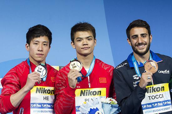 彭剑锋获得1米板冠军。视觉中国 图