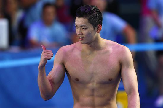 200米混合泳决赛中,中国选手汪顺以1分56秒28夺得季军。
