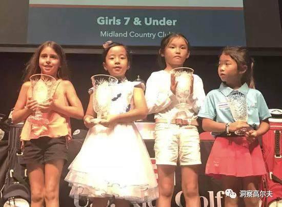 刘宇婕(左二)获青少年世锦赛女子7岁及以下组并列第二名