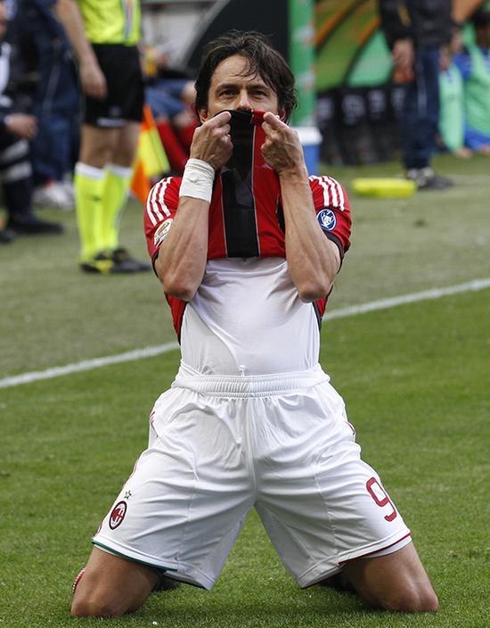 2012年5月13日,米兰圣西罗球场,以绝杀进球的方式告别,因扎吉在他的AC米兰第300战——也是告别之战——留给了圣西罗一个完美的回忆。
