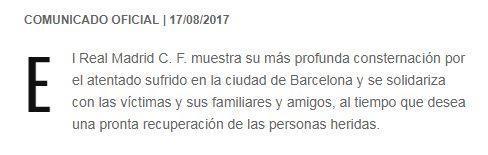 除了各大俱乐部之外,一些足坛球员、教练也向巴塞罗那以及受害者纷纷送上了慰问。