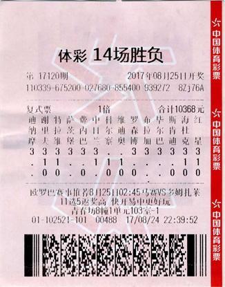 老球迷万元复式中足彩122万:会一直买下去-票