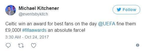 获奖当天凯尔特人因球迷违规行为被罚款9000英镑,绝对是一场闹剧