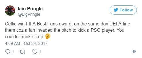 凯尔特人获得国际足联年度最佳球迷,同一天他们被欧足联罚款,无法解释。