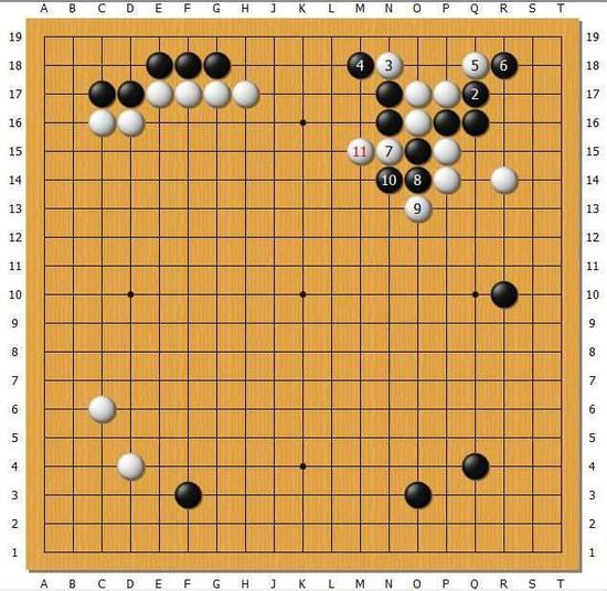 白1.3是最容易想到的反击手段,如果黑4强吃白棋,将被白棋简明击溃。