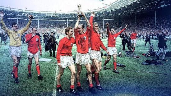 (图)1966年世界杯决赛击败西德之后,英格兰球员在庆祝