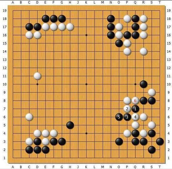 黑1若还是尖出,白2压住,黑3.5扳断,白6打吃黑已无法连回黑1一子,这样就可以看出白58的巧妙之处!