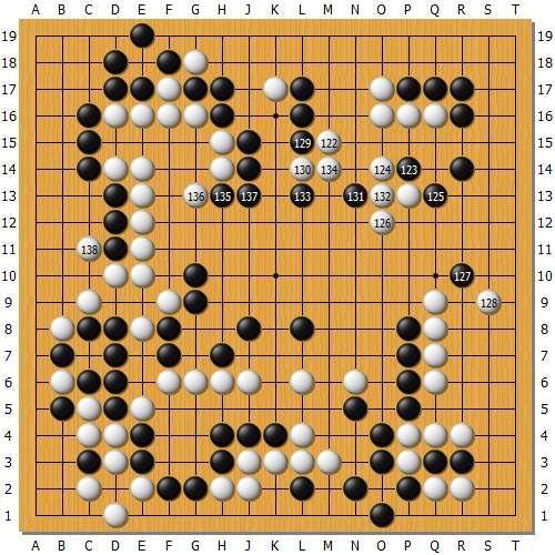 朴廷桓122不知所云的一手,被唐韦星抓住棋型,白130也十分奇怪,至此局势已经悄然逆转了。