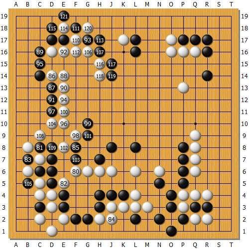 吃掉黑下面后,左上的进行白棋安全做活,至此形势依然是白棋优势。