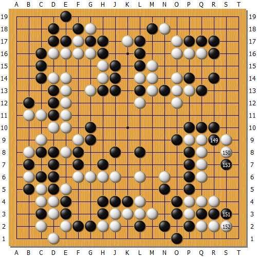 感受一下唐韦星致命的飞刀吧,唐门暗器,一击毙命!这个棋跟前两天对安国铉的局面有些相似,都是二路手筋制敌。