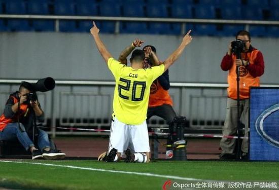 哥伦比亚球员莫雷诺,目前他效力上海申花。Osports 图