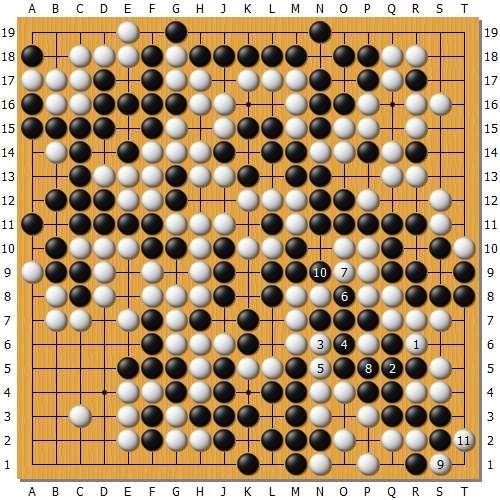 变革图5:上图黑1挤时,白棋也可以下本钱图的掠夺,这个图是全部变革中最乱的,不外之后照旧白棋不可。