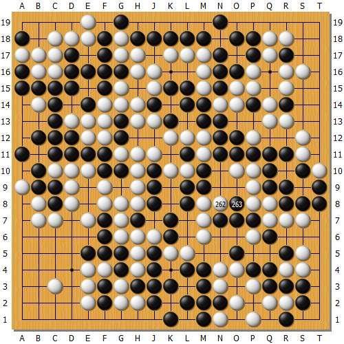 实战2:柯洁显然看清了后面的变革,实战柯洁262拐磨练井山,井山263冲盘算精准,是此时最简明有用的应对。