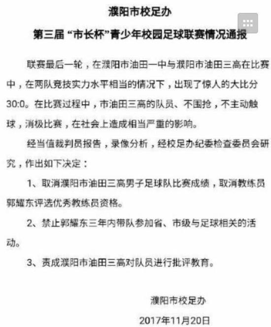 以下是濮阳市校足办也对本场比赛开出的处罚: