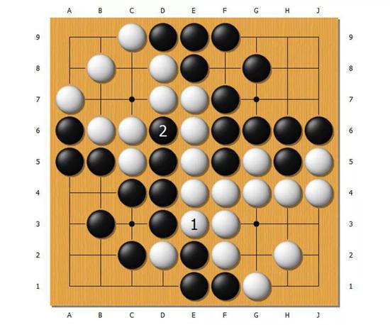 这是终局前的局面,白1之后,黑棋下在了黑2。
